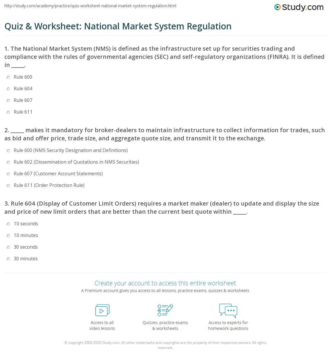 Quiz Amp Worksheet National Market System Regulation