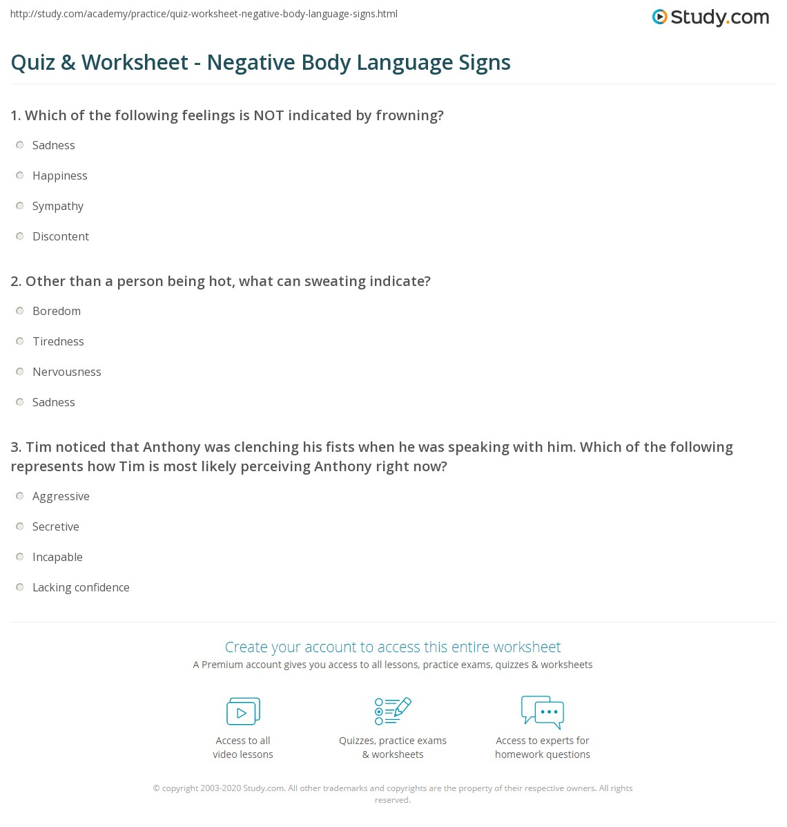 Body Language Worksheet Feelings