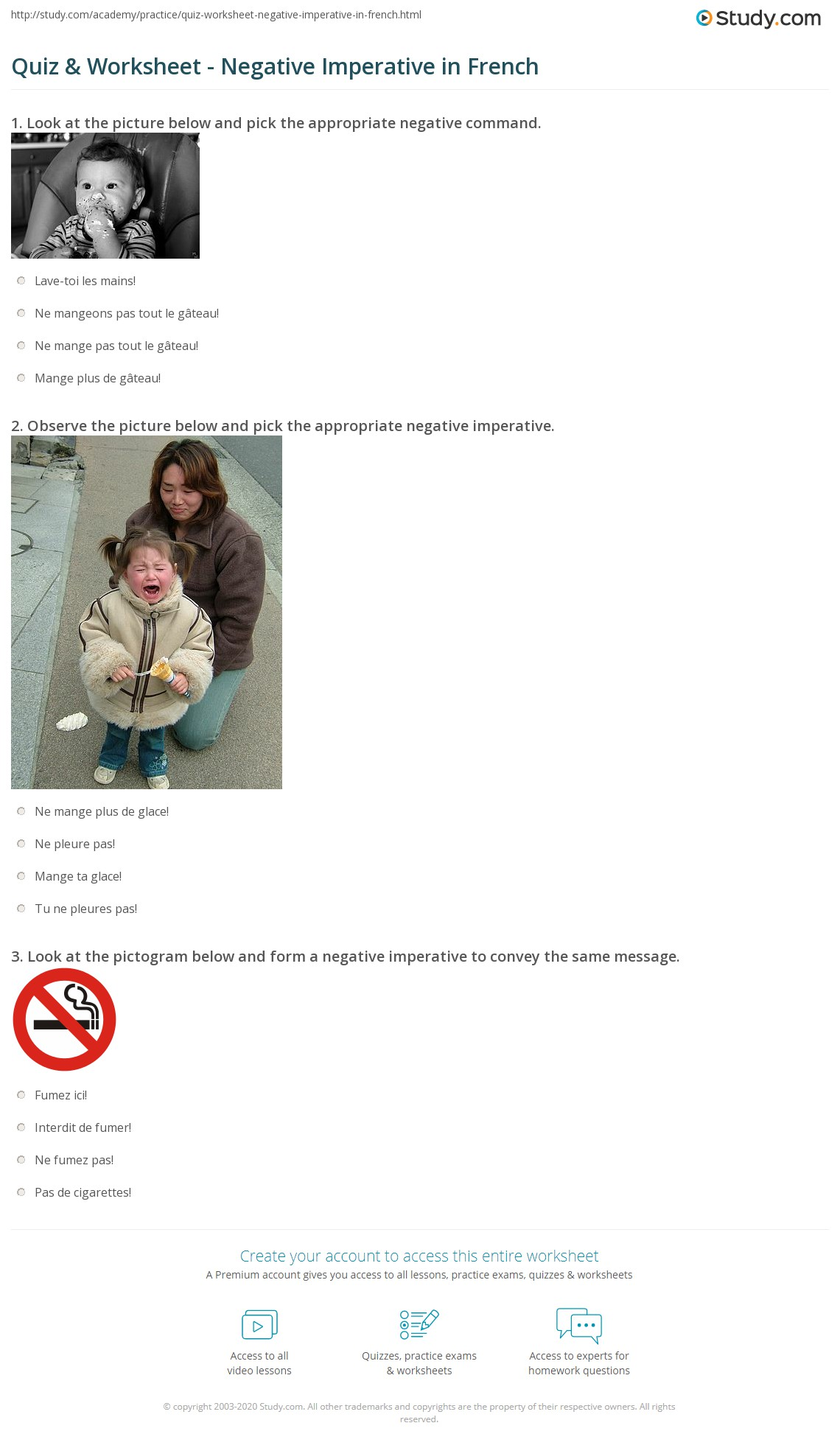 Negation French Worksheet