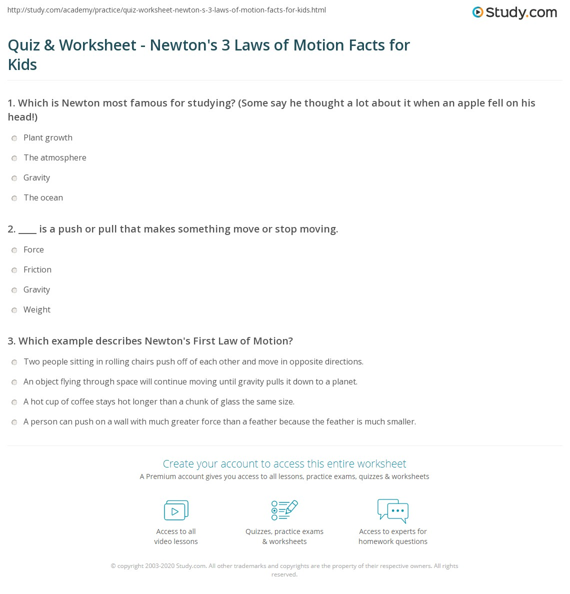Newton S 3 Laws Worksheet