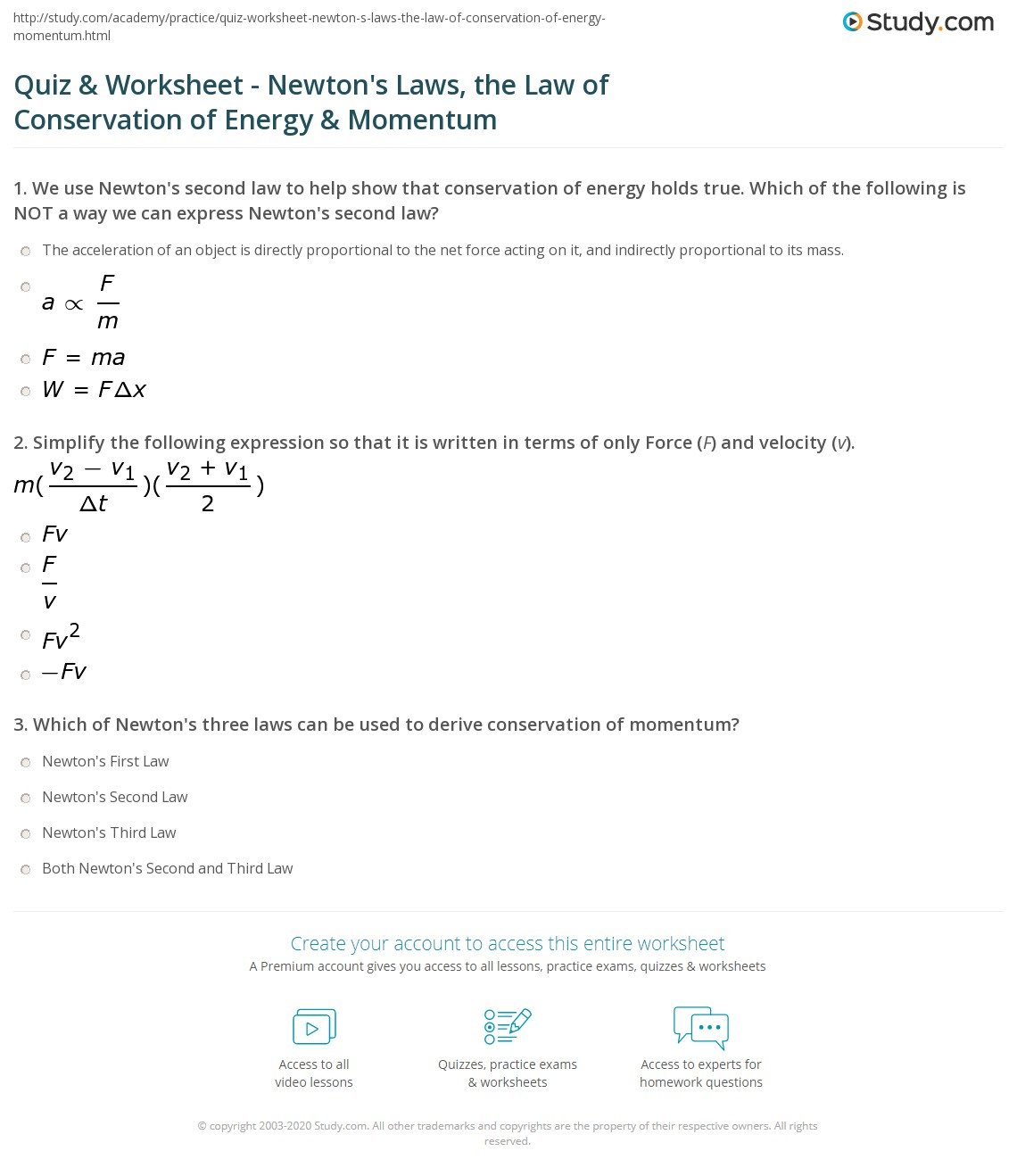 Law Of Conservation Of Momentum Worksheet