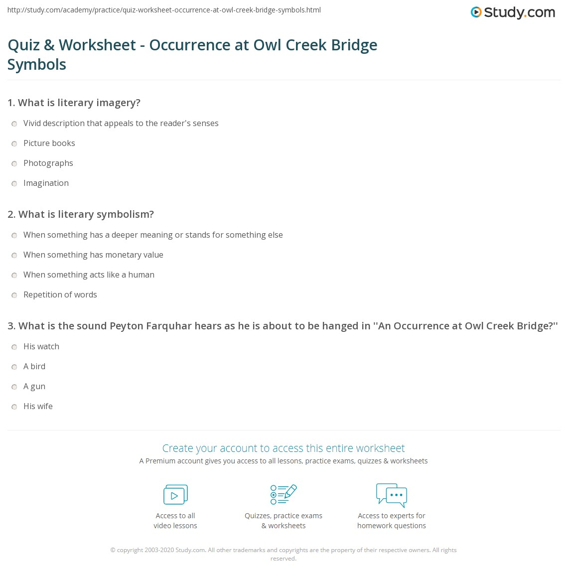 An Occurrence At Owl Creek Bridge Worksheet