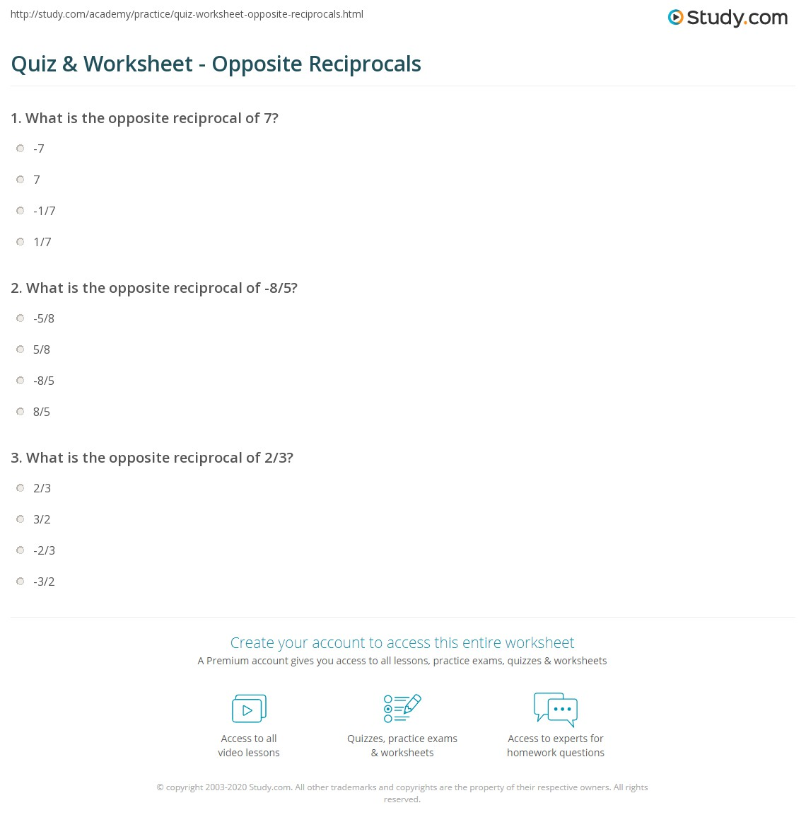 Negative Exponents And Reciprocals Worksheet