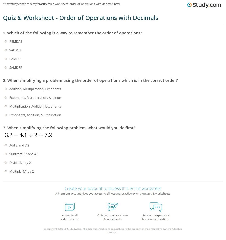 Putting Decimals In Order Worksheet