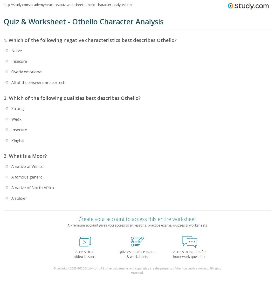 Quiz W Ksheet O Llo Ch R Cter N Lysis Study