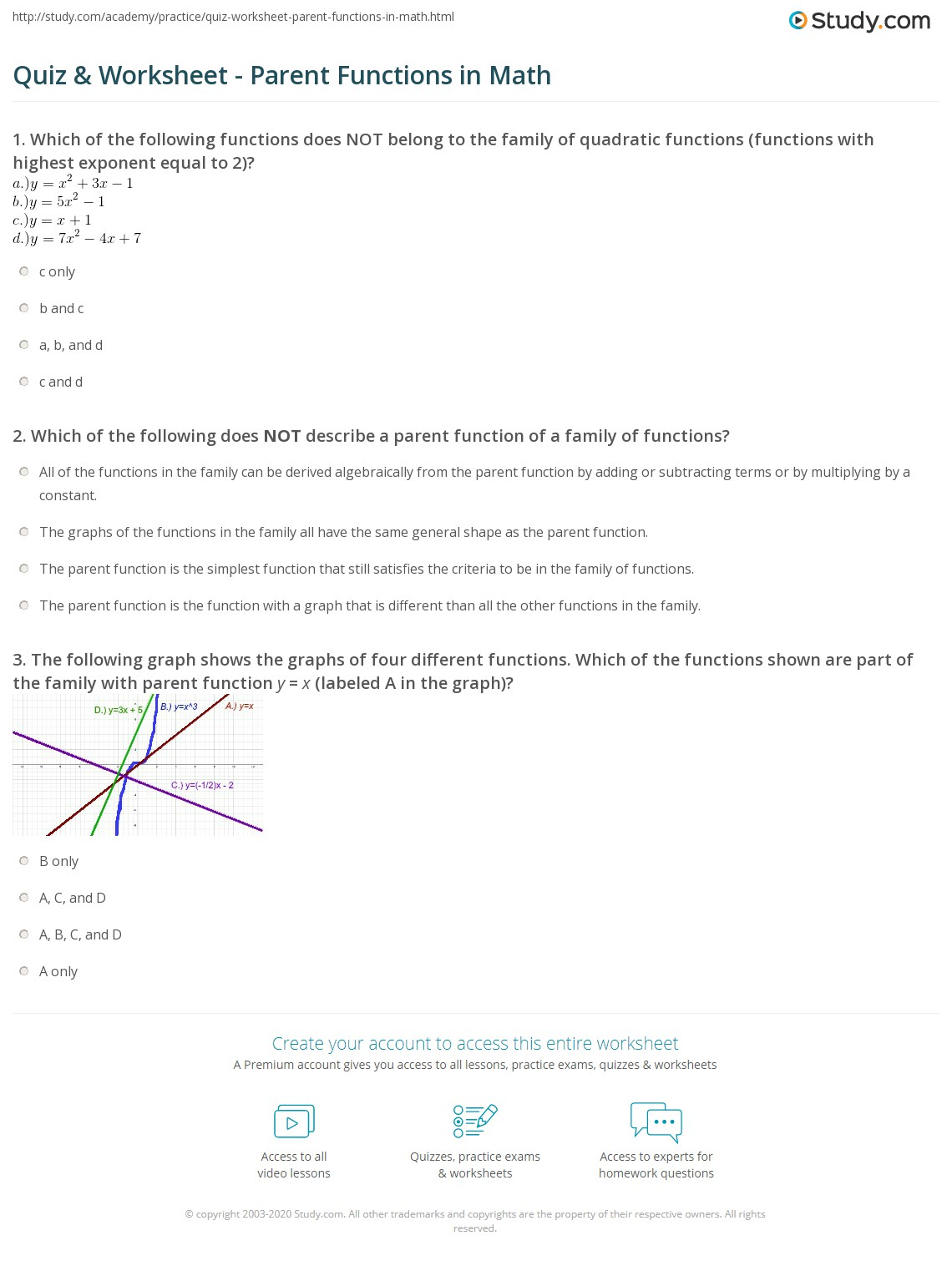 Math Study Worksheet