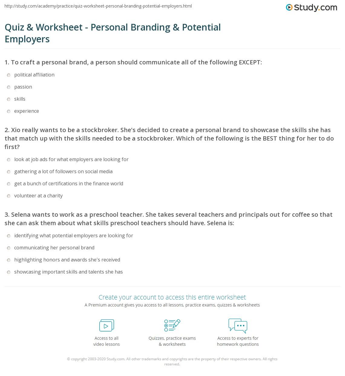 Personal Branding Worksheet Printable Worksheets And Activities For Teachers Parents Tutors And Homeschool Families