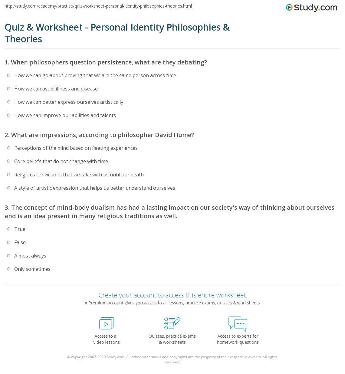 Personal Identity Worksheet