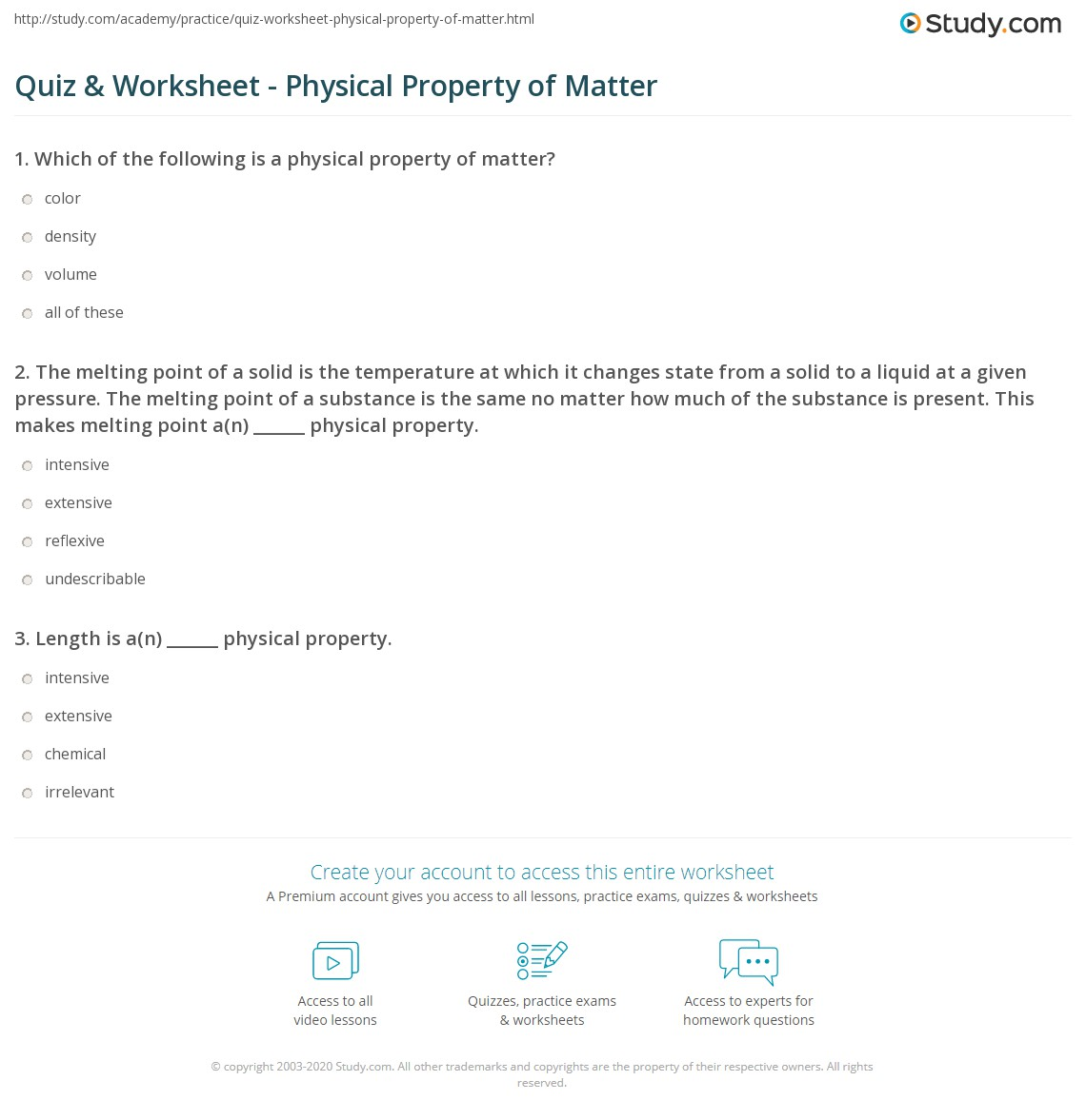 Properties Of Matter Worksheet