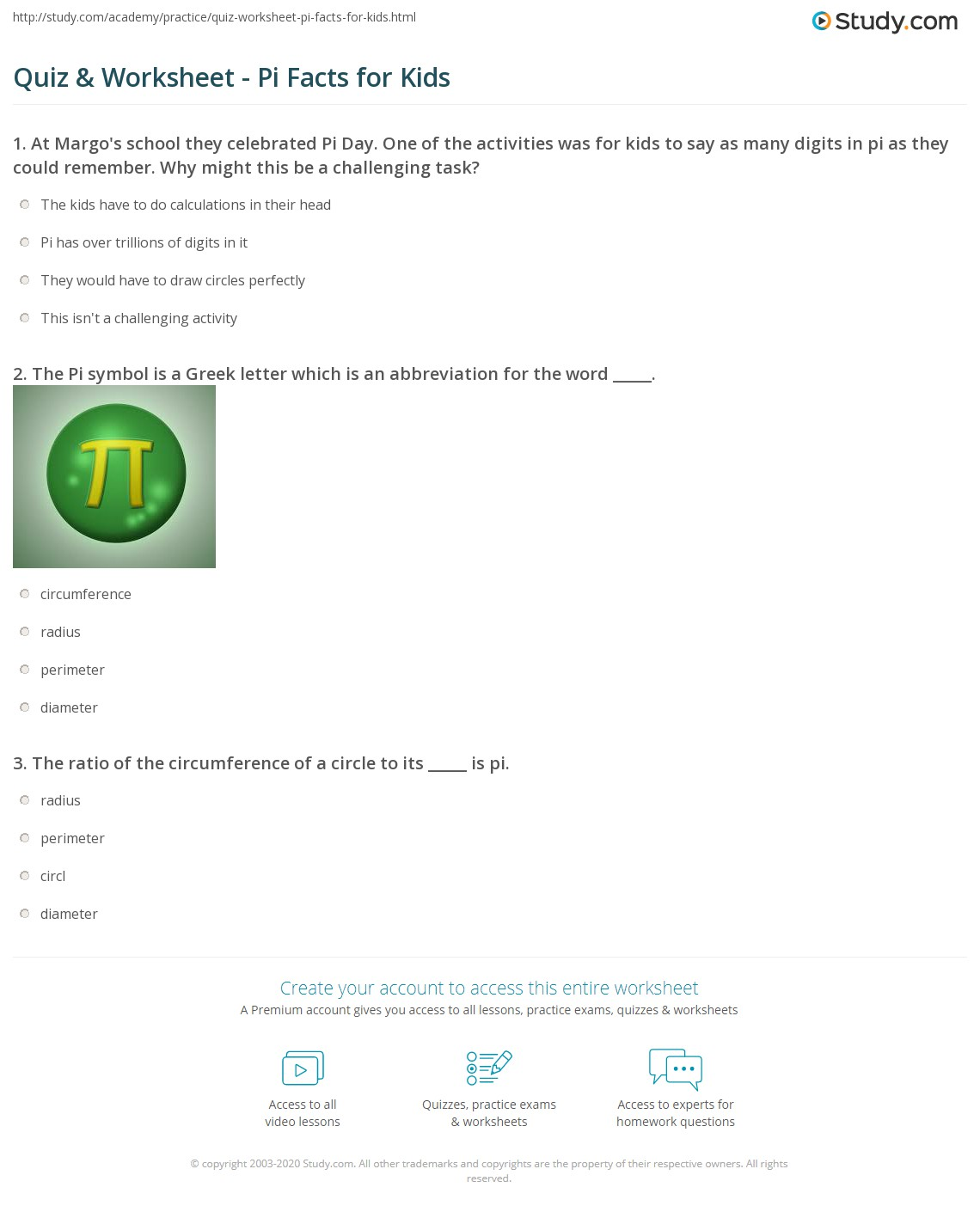 Pi Worksheet