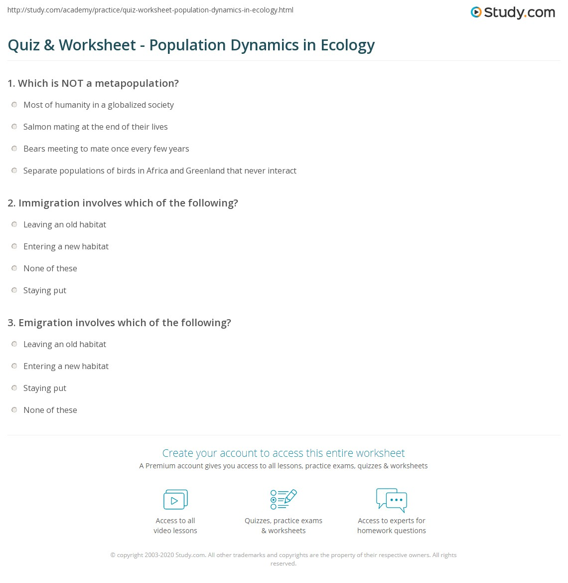 Worksheets Population Dynamics Worksheet