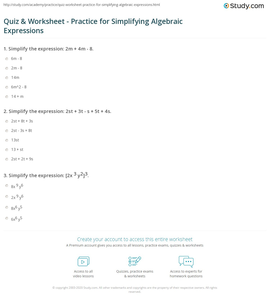 Simplifying Equations Worksheets Year 8