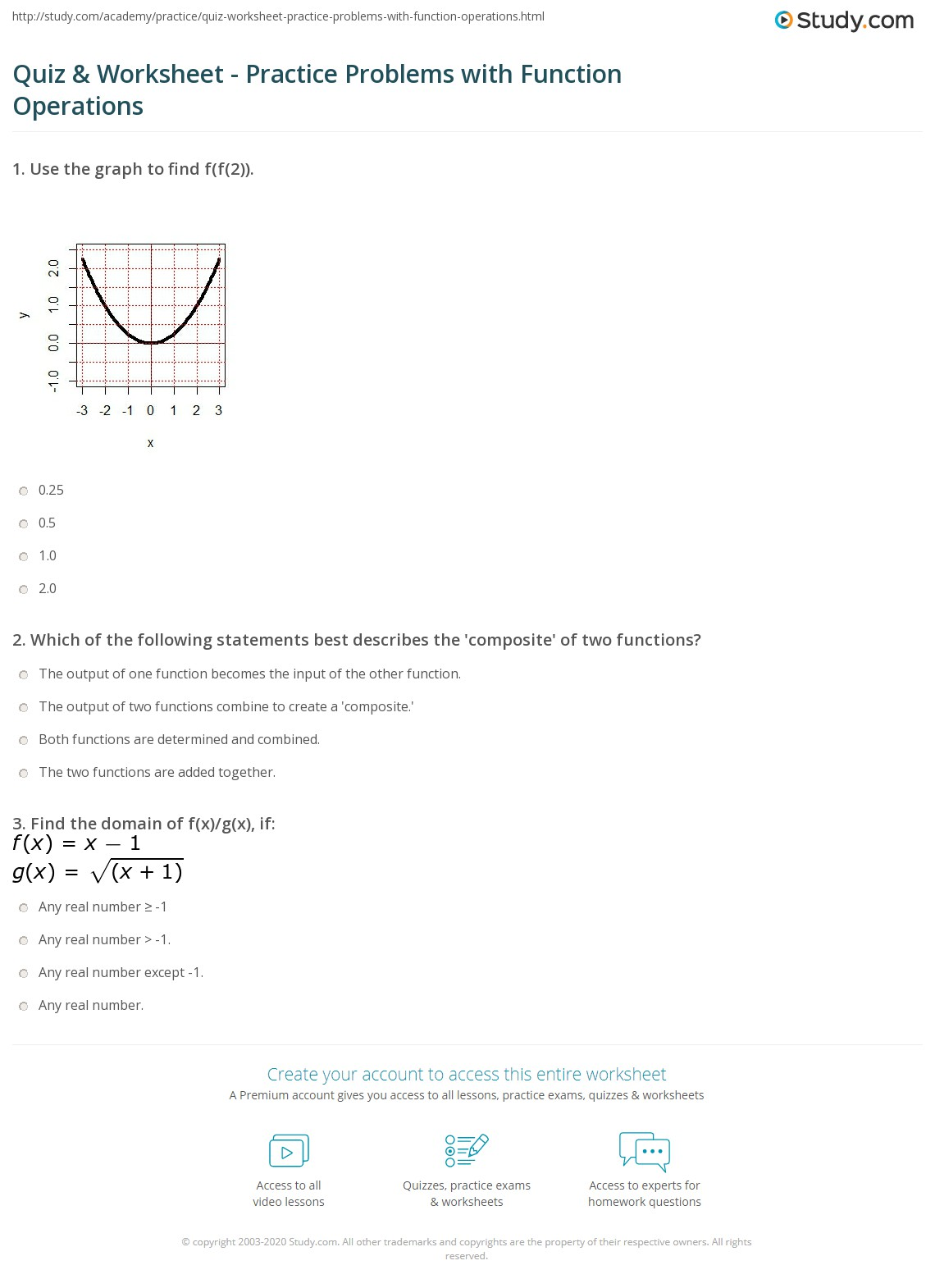 Quiz U Worksheet Practice Problems With Function