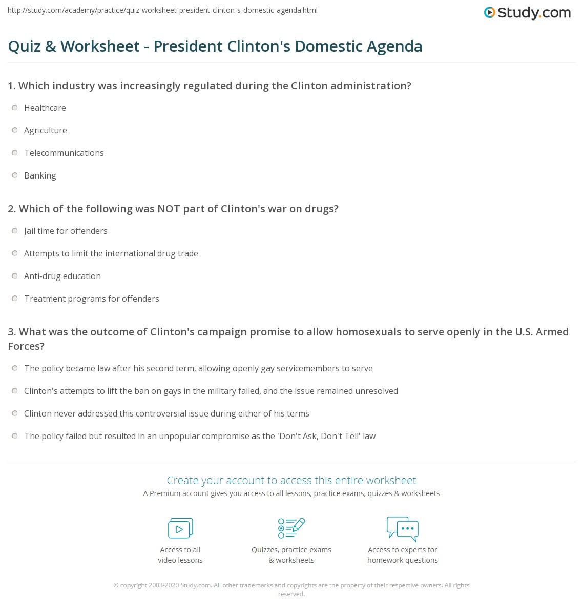 President Worksheet Elementary