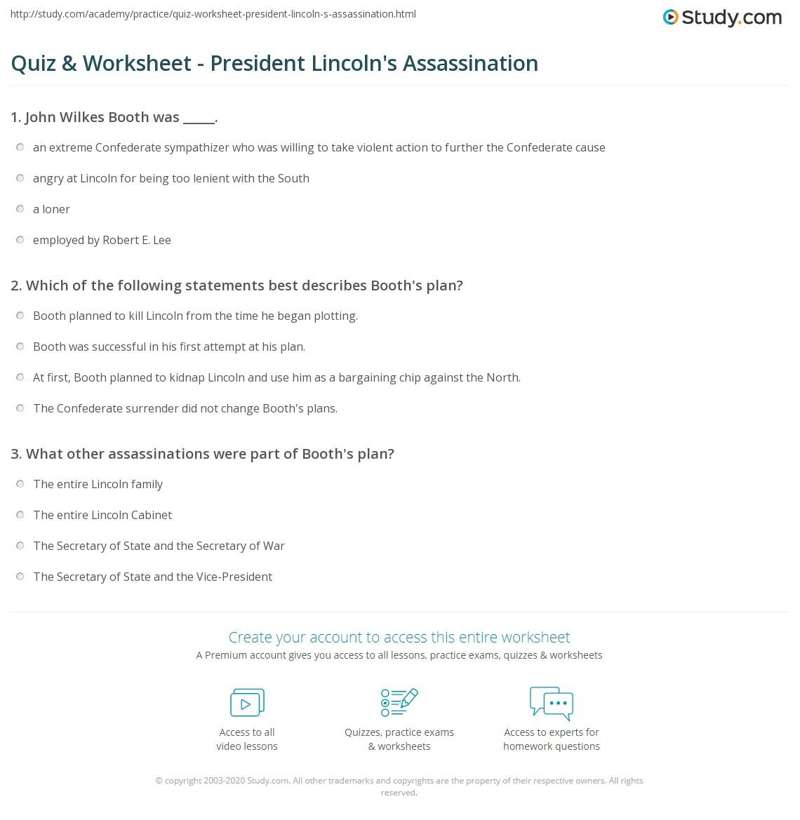 Worksheet President Lincoln