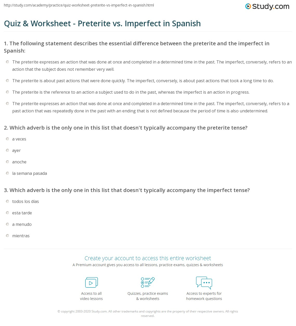32 The Imperfect Tense In Spanish Worksheet Answers