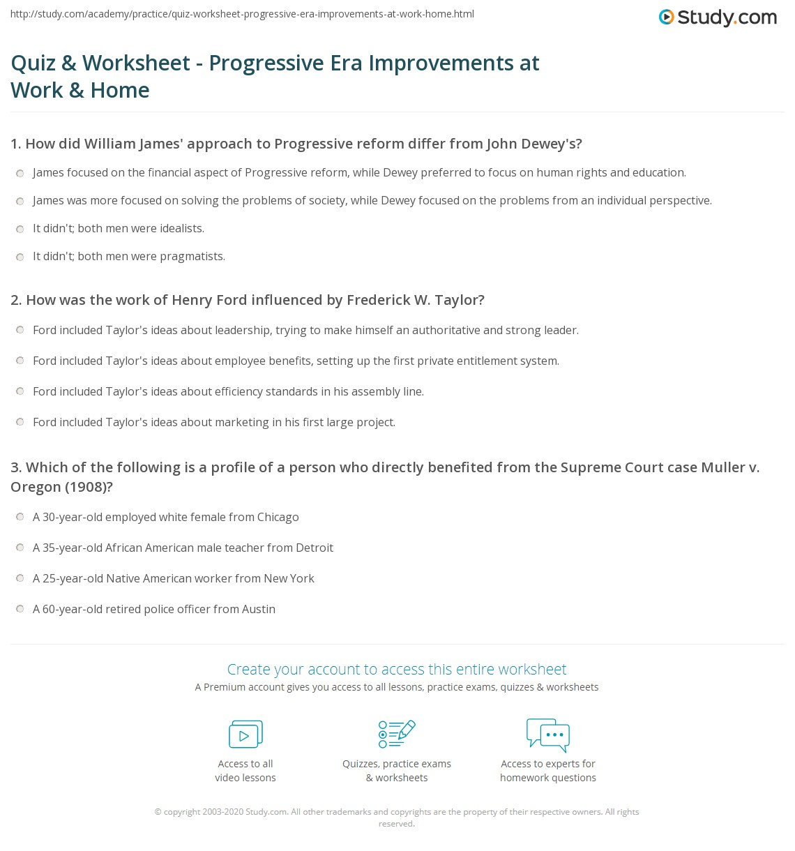 33 The Progressive Era Worksheet Answer Key