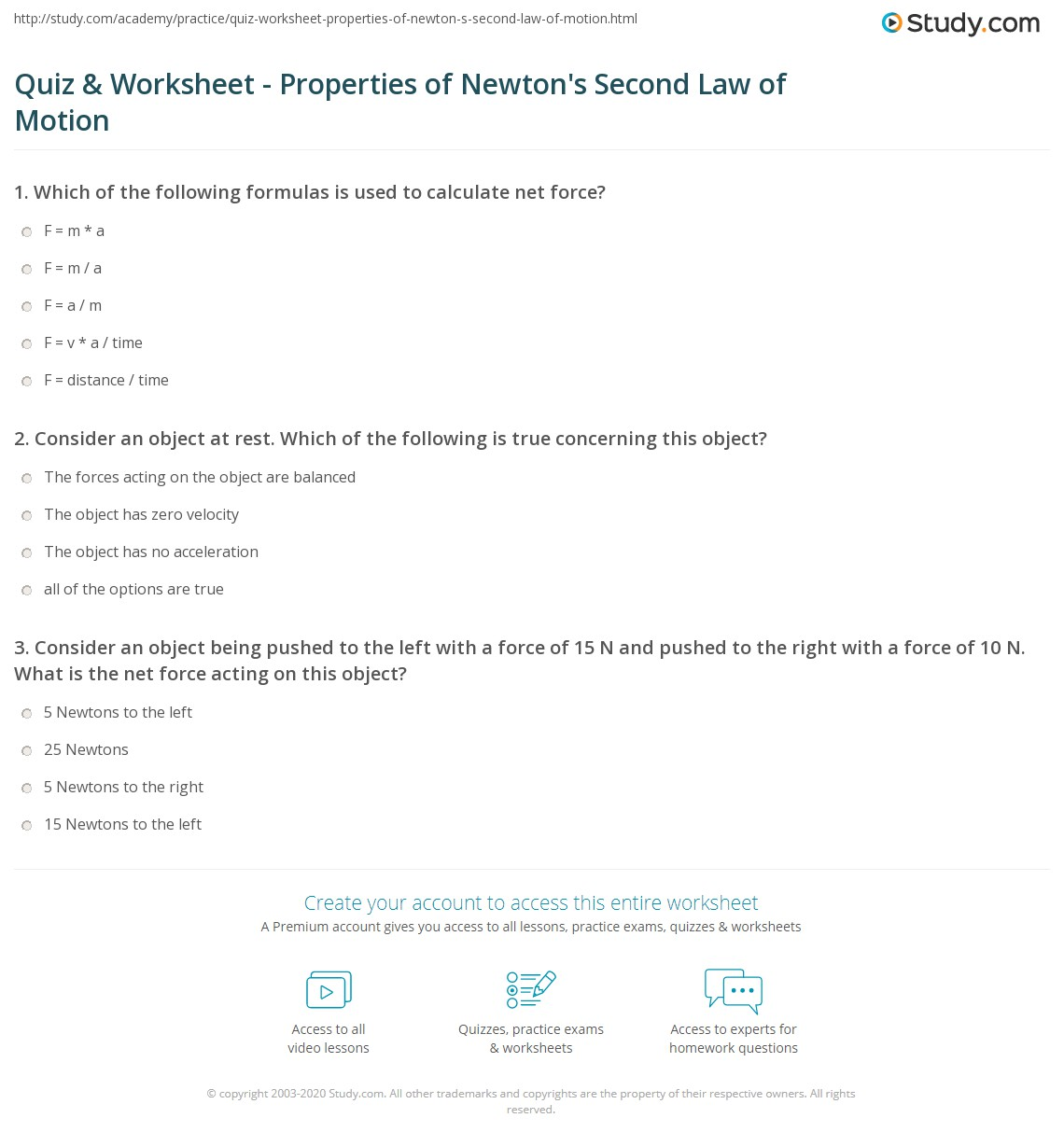 Newtons Second Law Worksheet Answers