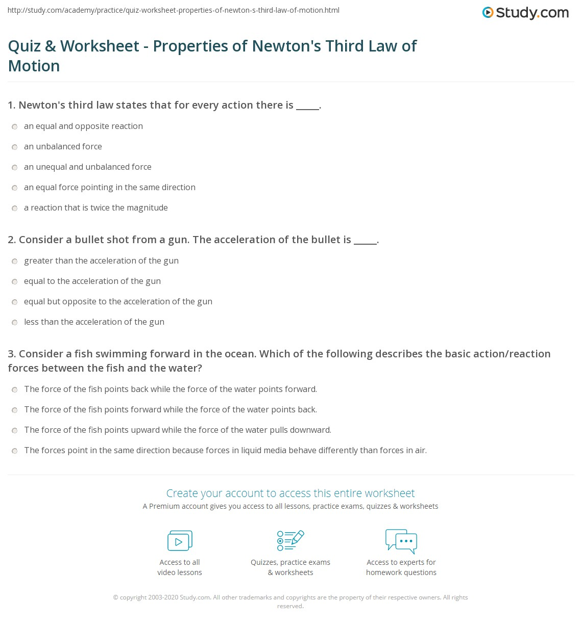 Newton S Third Law Worksheet Answer Key