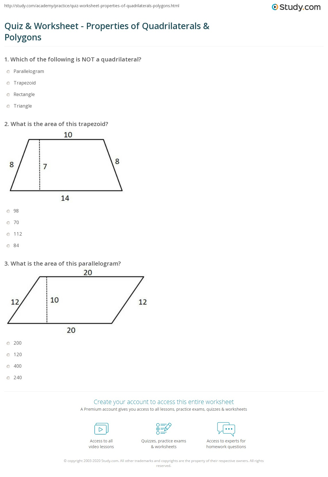 Quadrilateral Worksheet High School