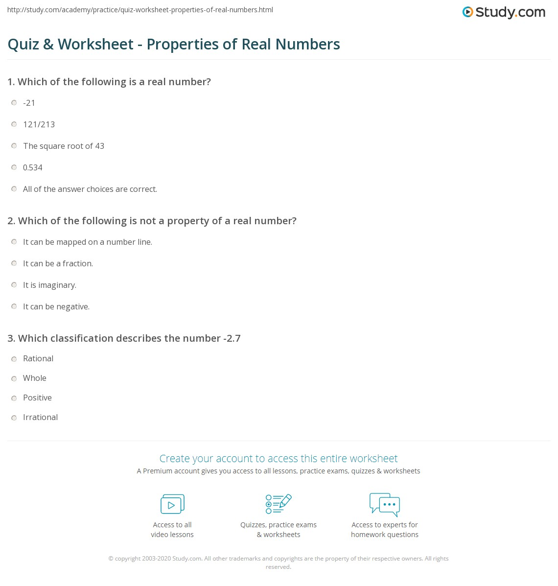 Real Numbers Worksheet Answers