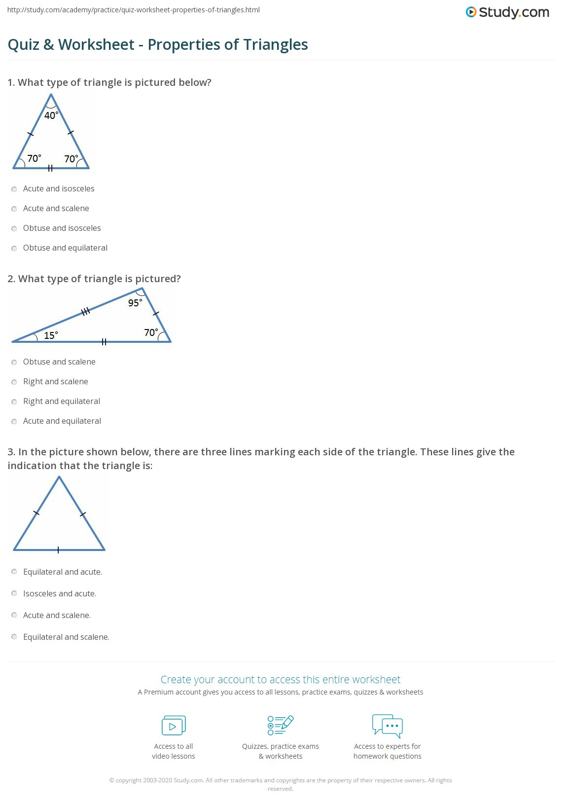 Worksheets Triangles Worksheet Cheatslist Free