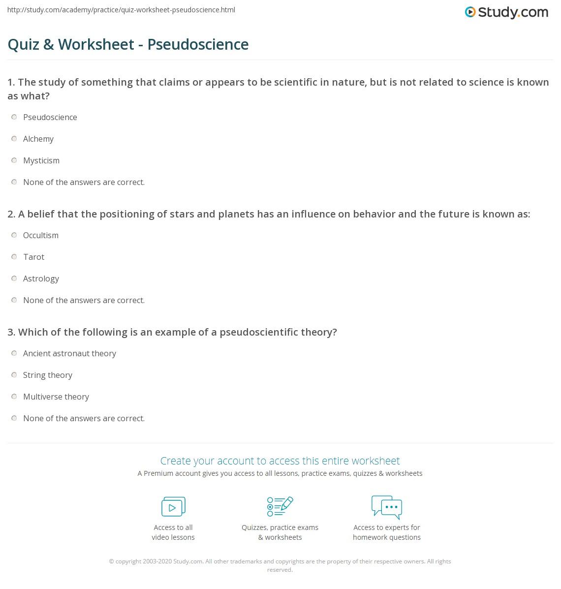 Quiz Worksheet Pseudoscience Study Com Quiz Best Free Printable Worksheets
