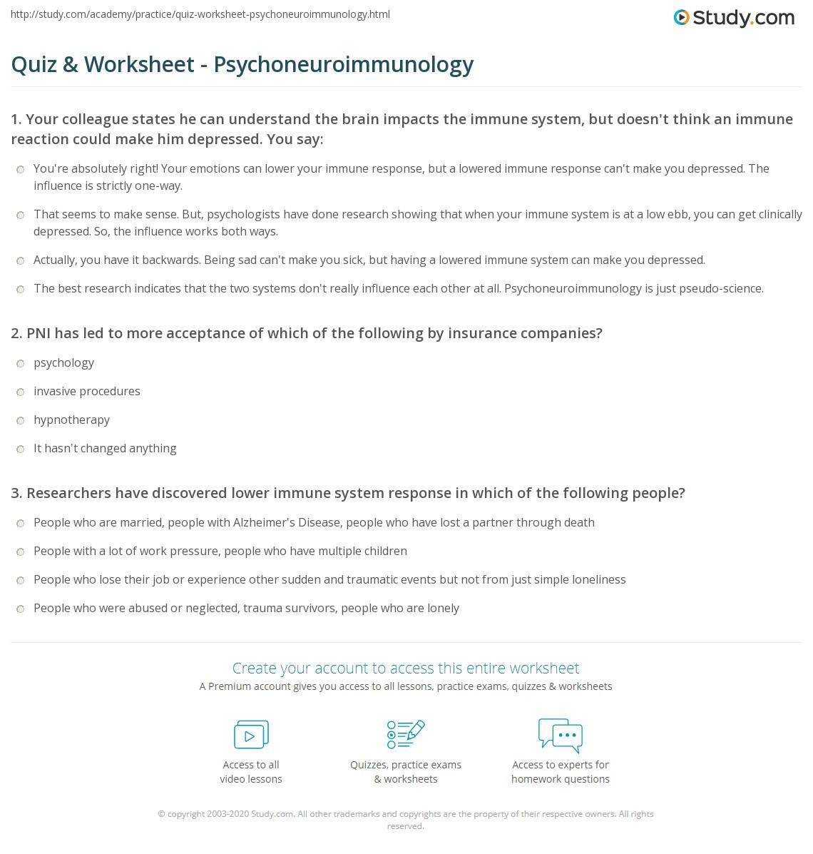 Immunology Immune System Worksheet
