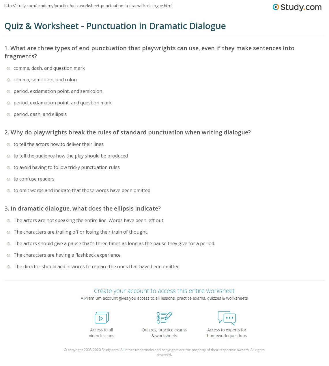 Punctuating Dialogue Worksheets