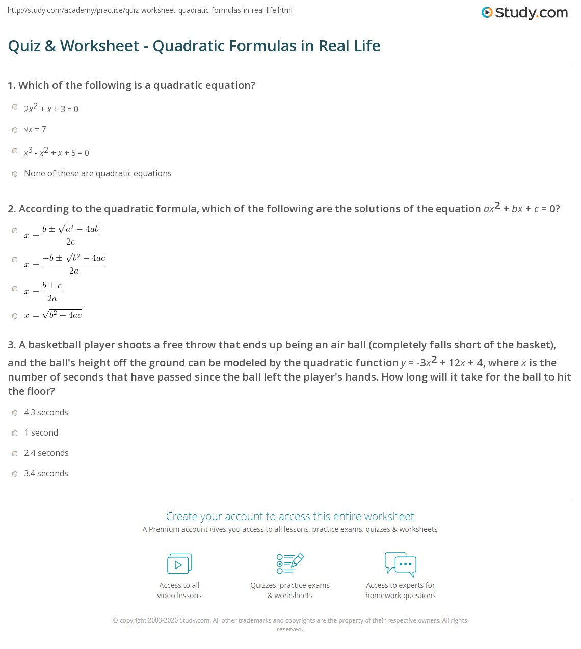 Quadratic Formula Quiz Worksheet