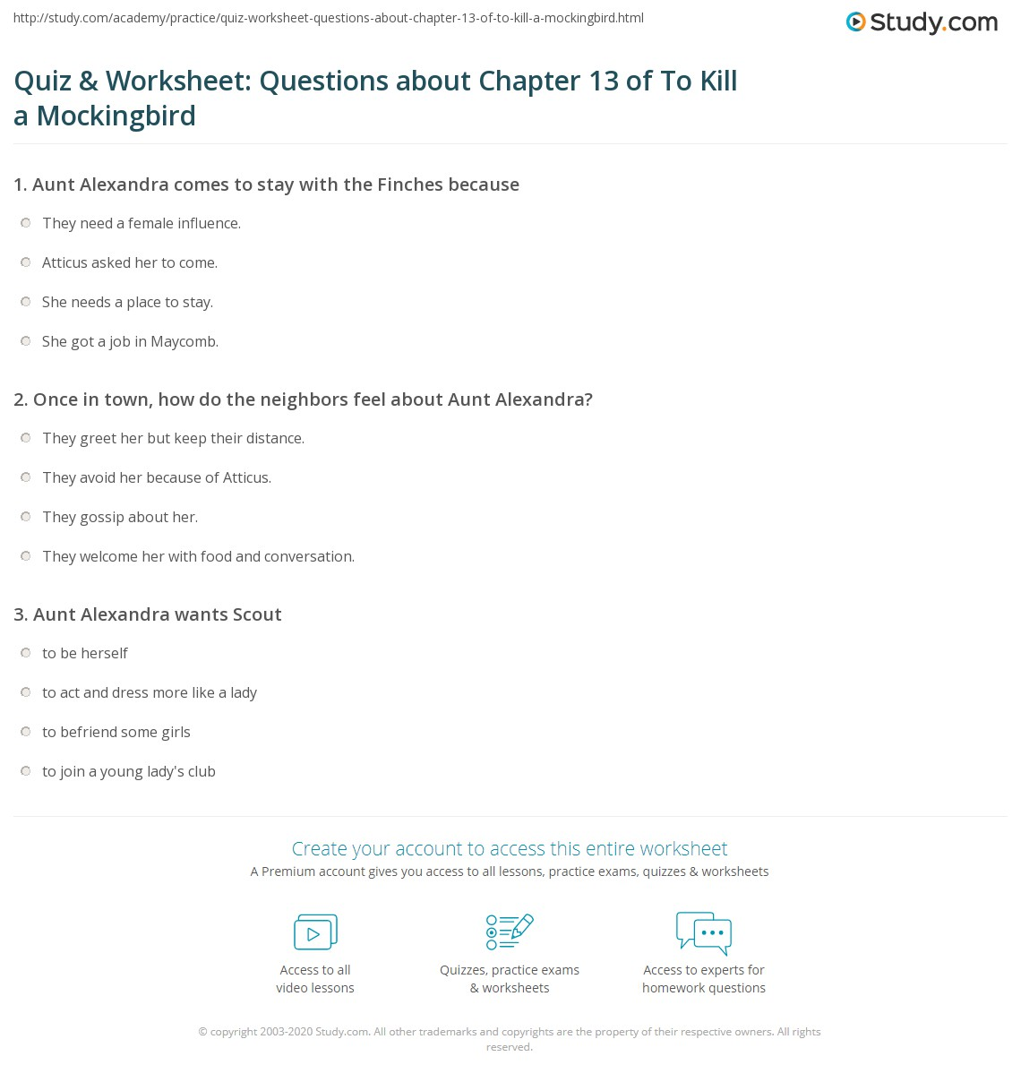 Quiz Amp Worksheet Questions About Chapter 13 Of To Kill A