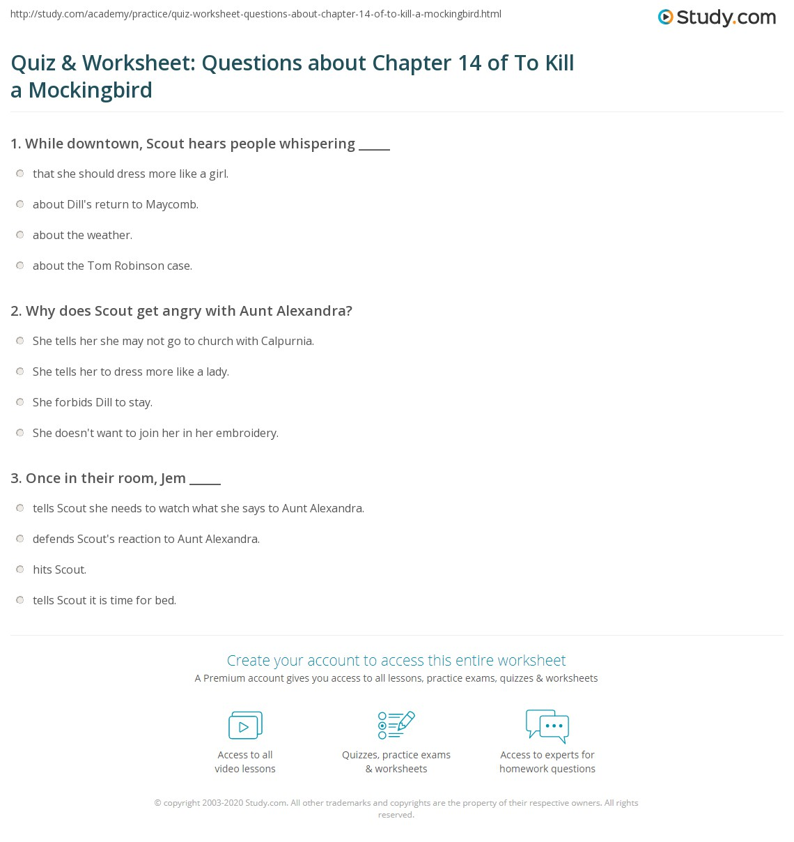 Quiz Amp Worksheet Questions About Chapter 14 Of To Kill A Mockingbird