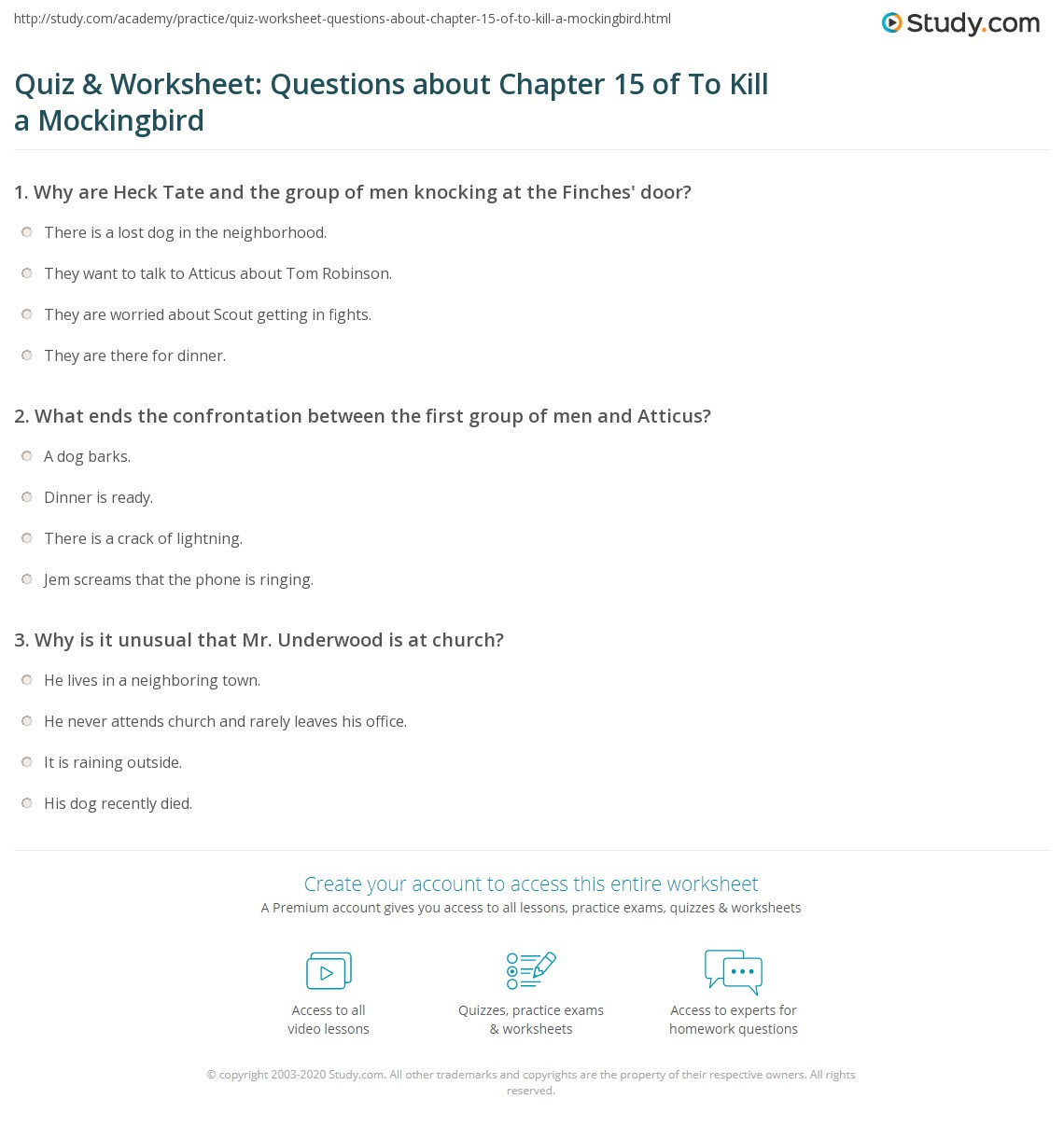 Quiz Amp Worksheet Questions About Chapter 15 Of To Kill A Mockingbird
