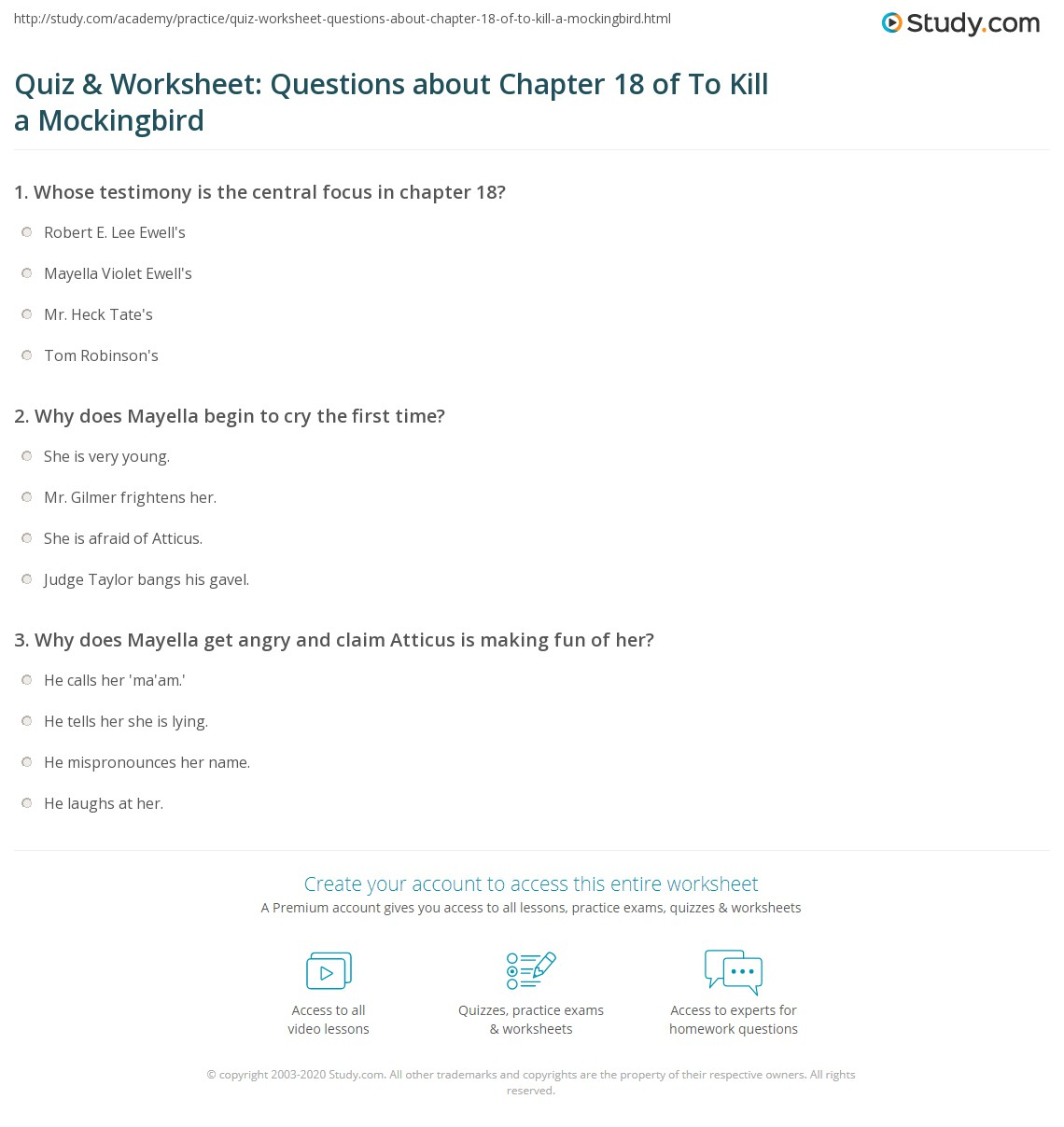 Quiz Amp Worksheet Questions About Chapter 18 Of To Kill A Mockingbird