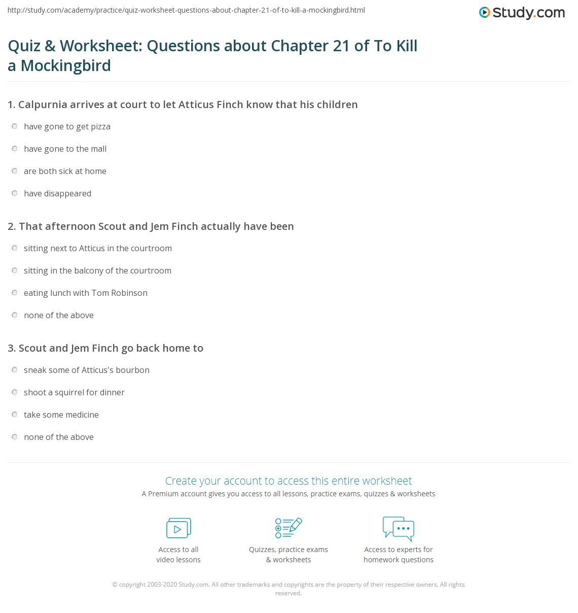 Quiz Amp Worksheet Questions About Chapter 21 Of To Kill A