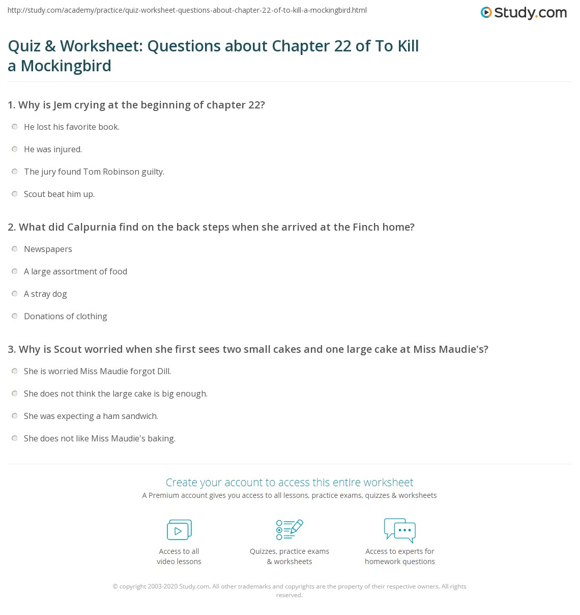 Quiz Amp Worksheet Questions About Chapter 22 Of To Kill A Mockingbird
