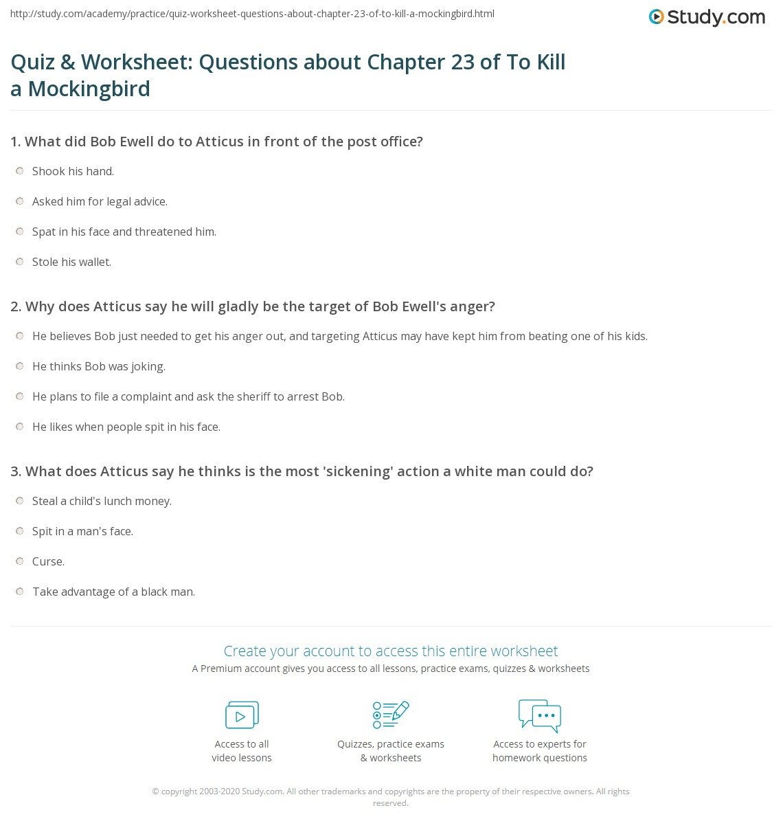 Quiz Amp Worksheet Questions About Chapter 23 Of To Kill A