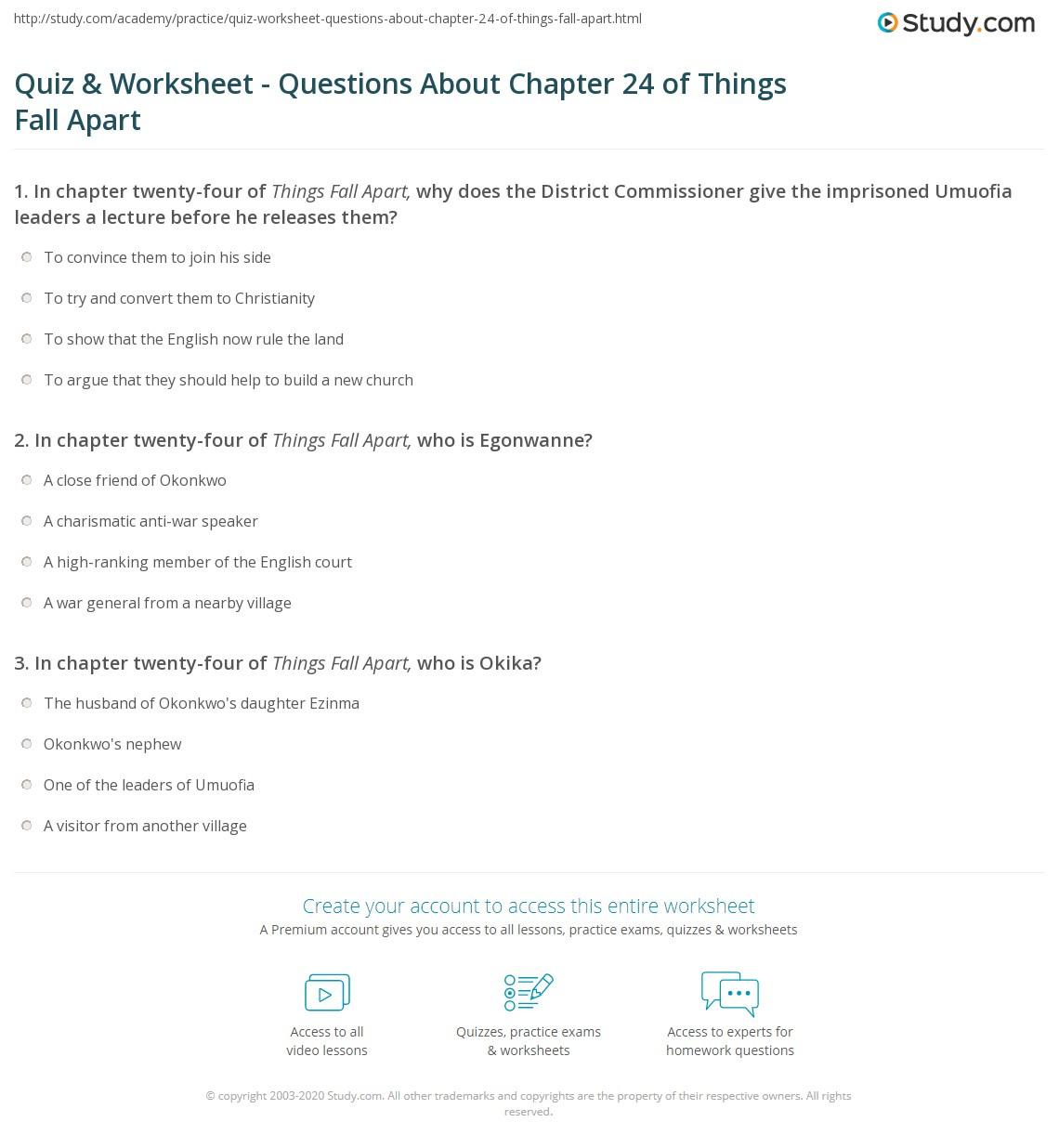 Worksheet 1 Things Fall Apart