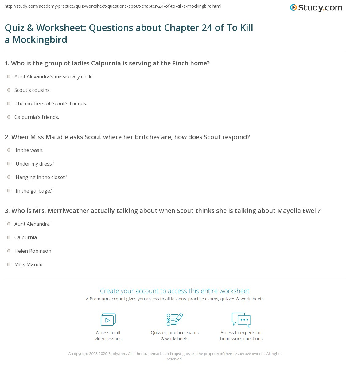 Quiz Amp Worksheet Questions About Chapter 24 Of To Kill A