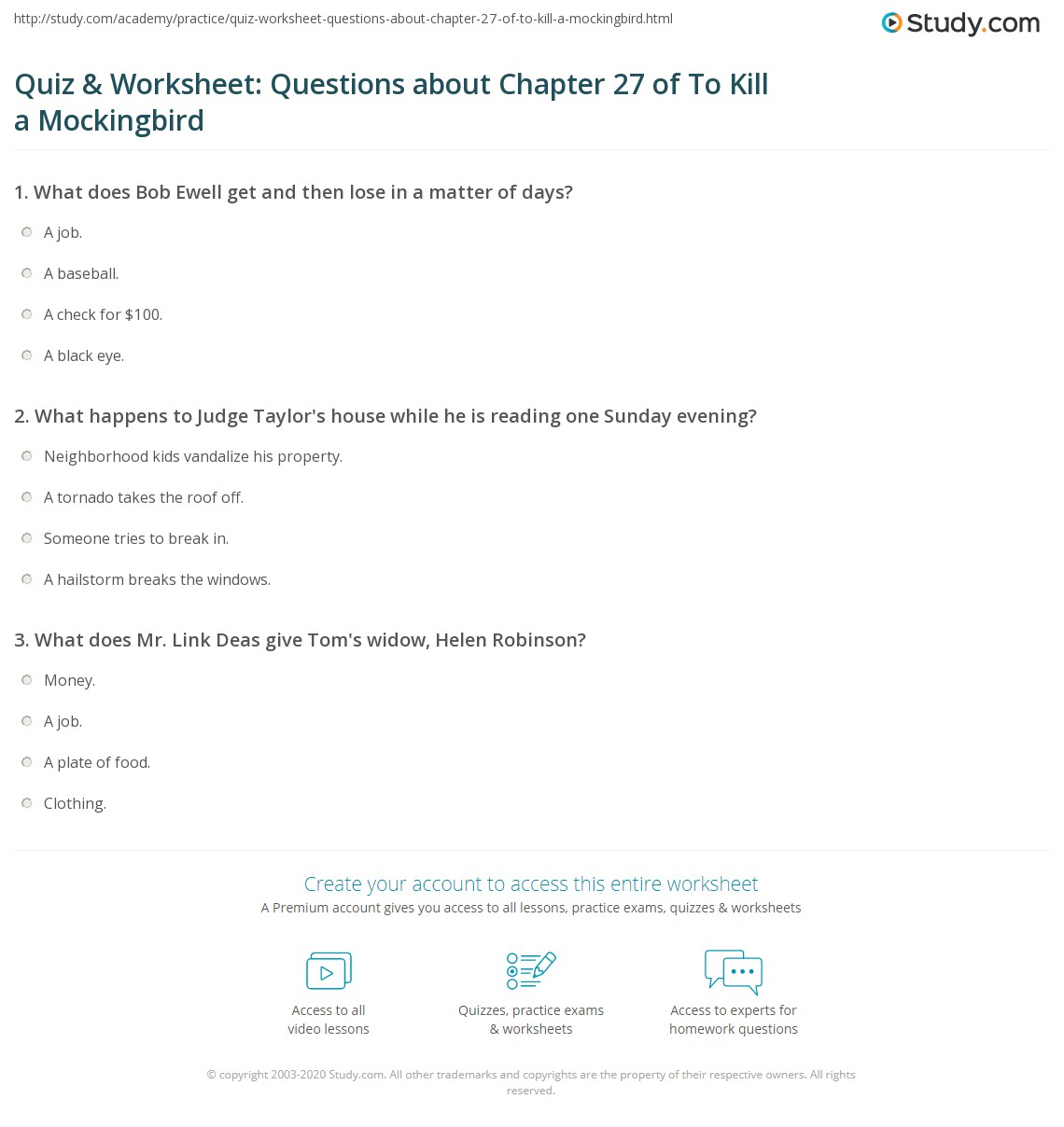 Quiz Amp Worksheet Questions About Chapter 27 Of To Kill A