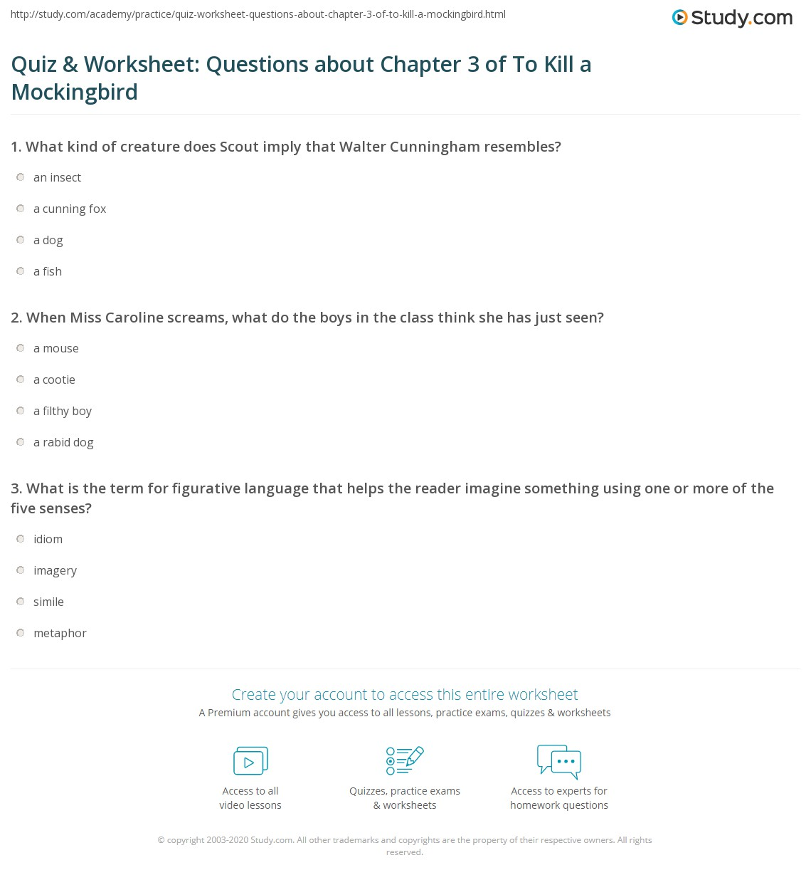 Quiz Amp Worksheet Questions About Chapter 3 Of To Kill A