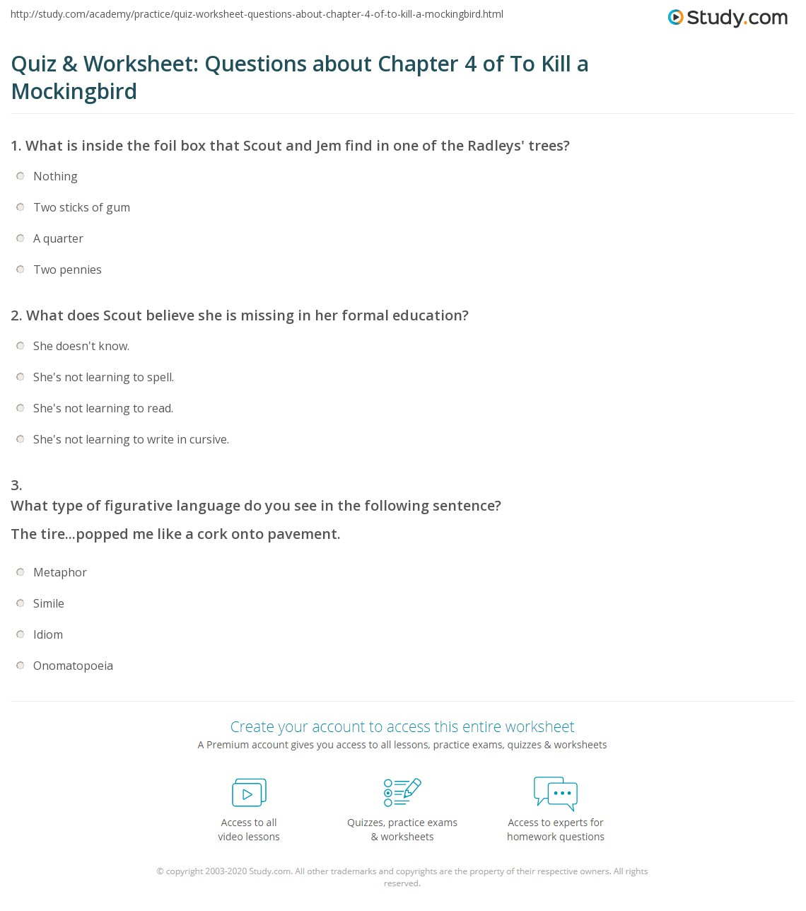 Quiz Amp Worksheet Questions About Chapter 4 Of To Kill A Mockingbird