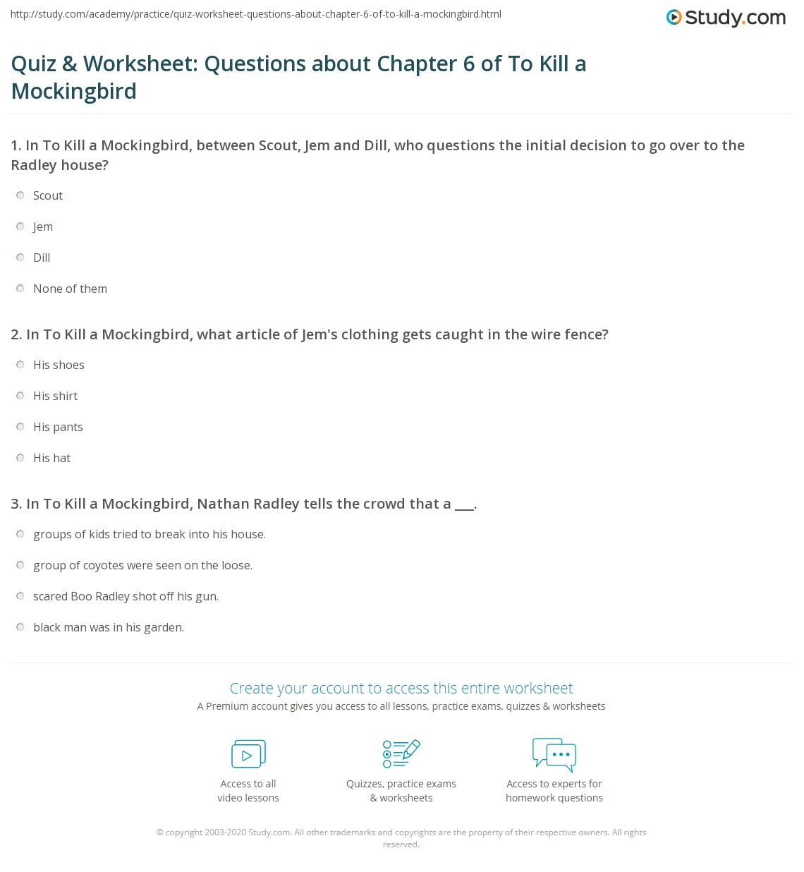 Quiz Amp Worksheet Questions About Chapter 6 Of To Kill A Mockingbird