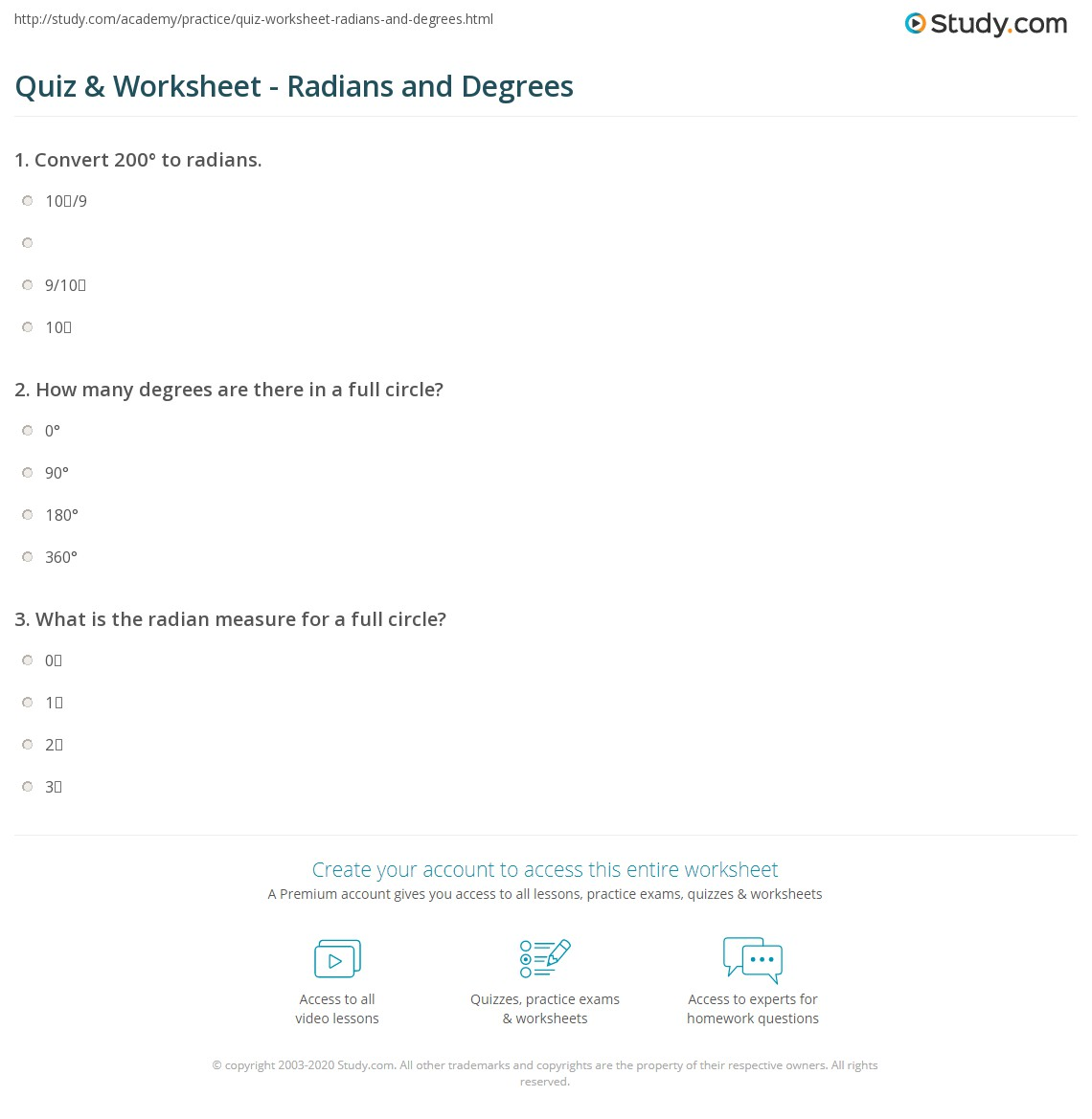 Pictures Radian Measure Worksheet