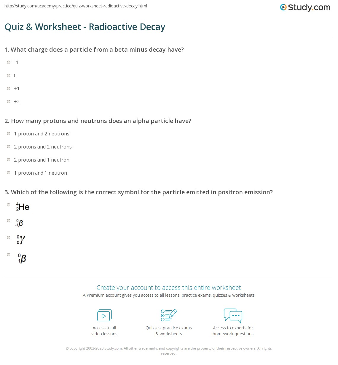 Printables Of Nuclear Decay And Radiation Worksheet