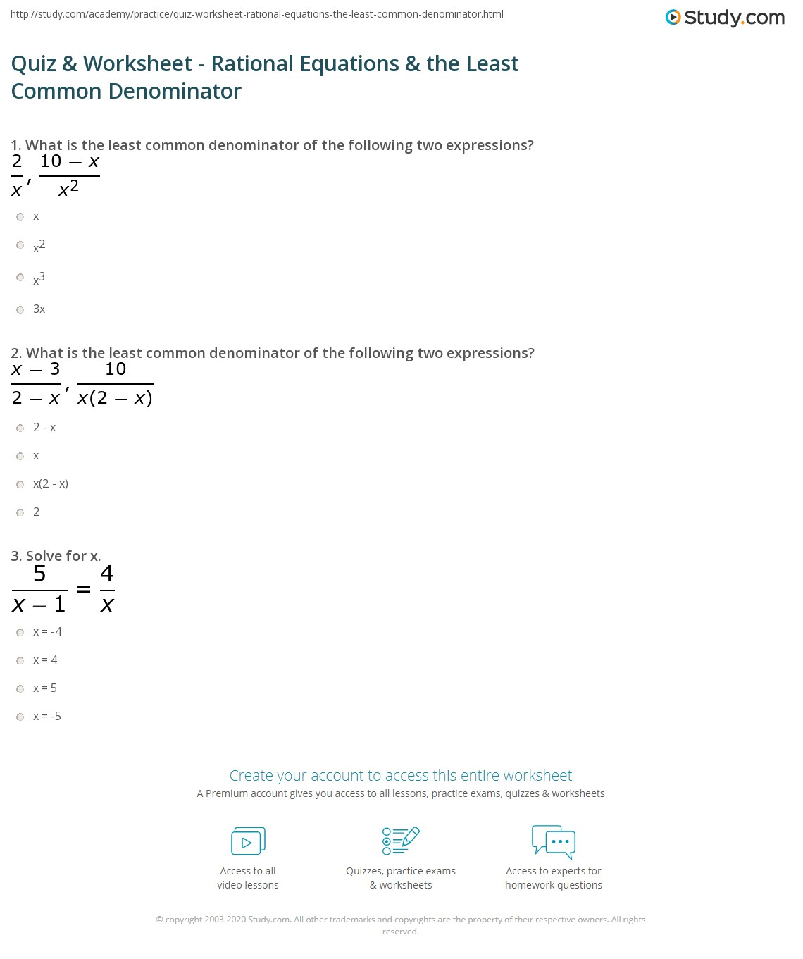 Finding Least Mon Denominator Worksheet