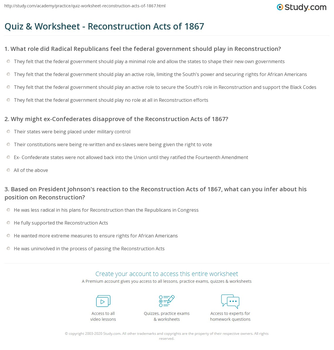 Us History Reconstruction Worksheet