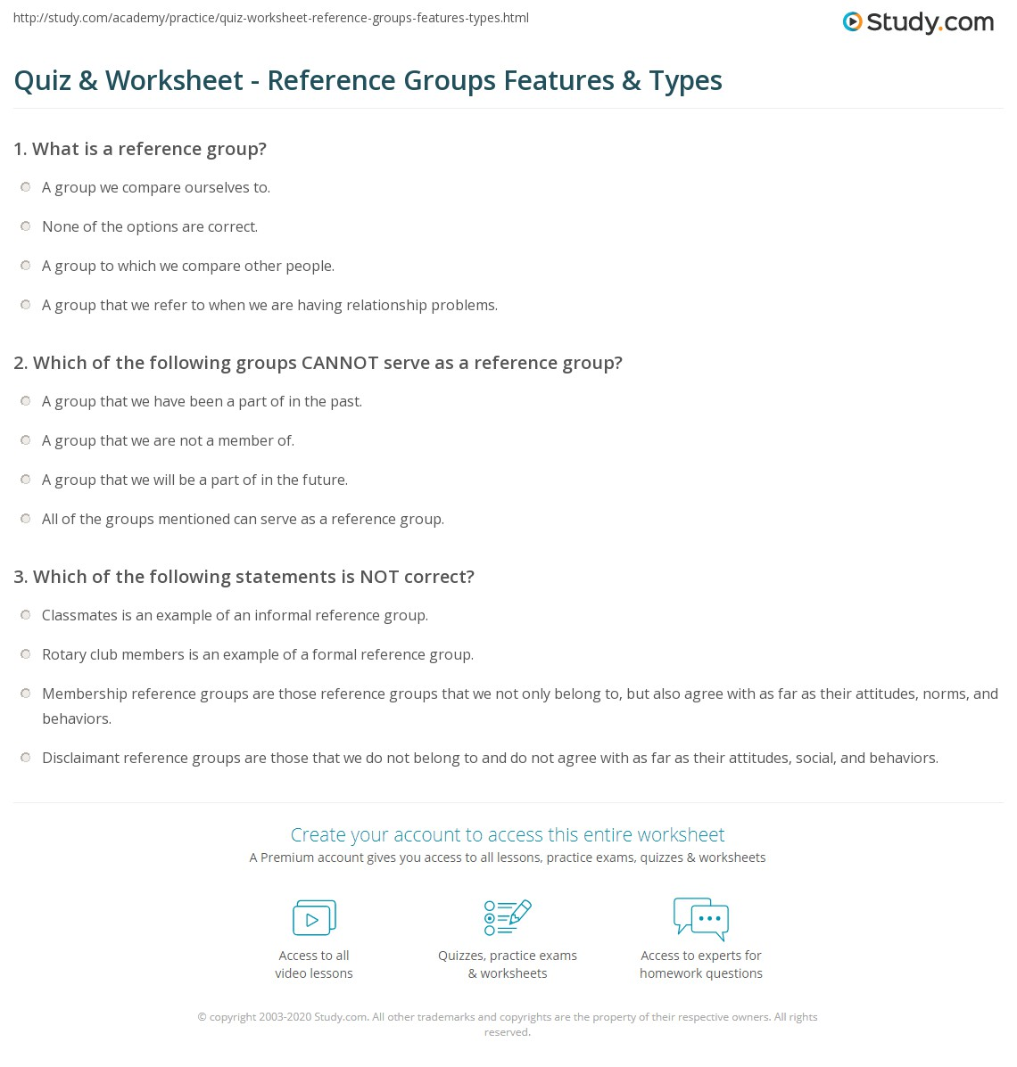 Quiz W Ksheet Reference Groups Fe Tures Types Study