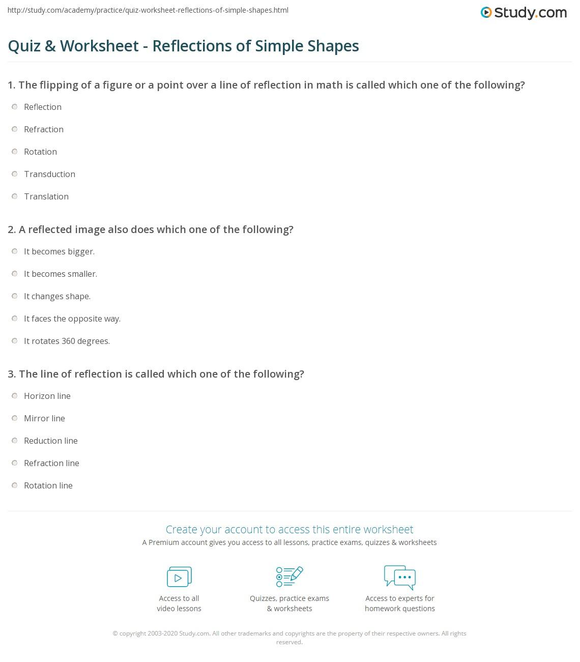 A Reflection Over Line Worksheet