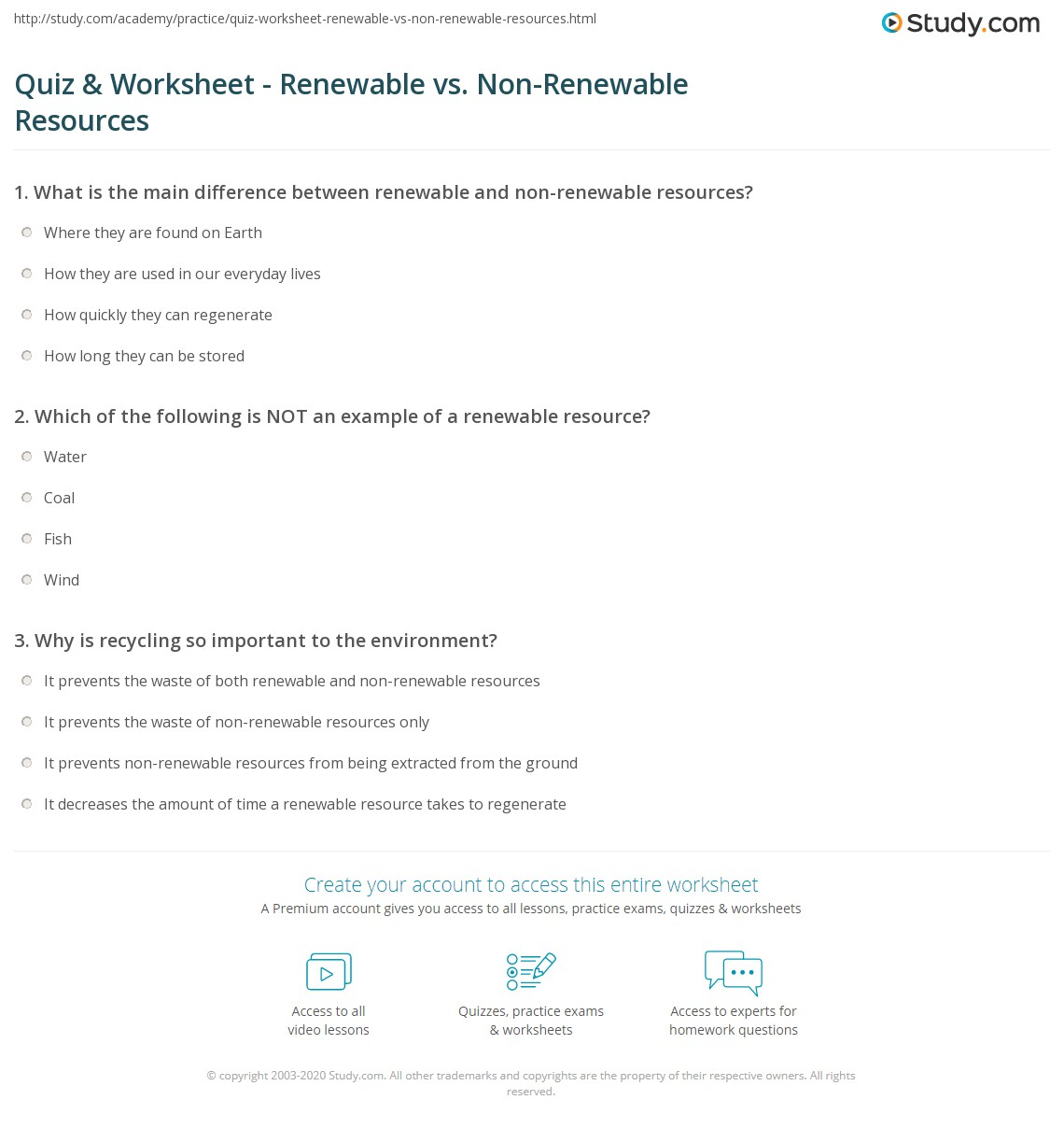 Section 6 2 Renewable And Nonrenewable Resources Worksheet